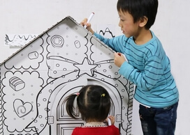 Cardboard Playhouses for kids paint and play