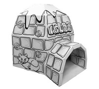 Cardboard Igloo build and color activity play house toy