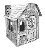 Cardboard Garden House build and color activity play house toy