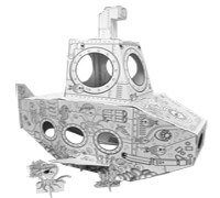 Cardboard Submarine build and color activity play house toy