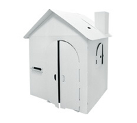 Cardboard Small Own House build and color activity play house toy