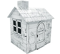 Cardboard Little Pasture House build and color activity play house toy