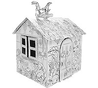 Cardboard Little Jungle House build and color activity play house toy