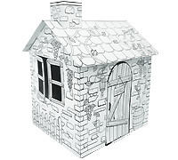 Cardboard Little Rattan House build and color activity play house toy
