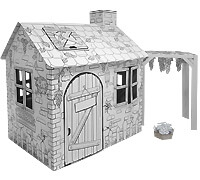 Cardboard Large Rattan House build and color activity play house toy